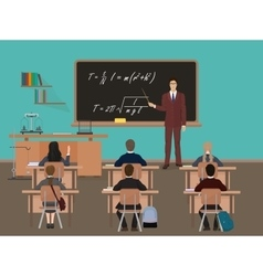School lesson Little kids pupil students with vector image