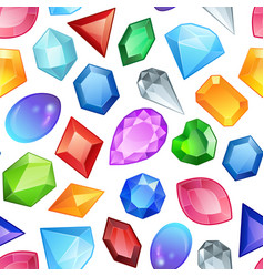 Seamless colorful gemstones pattern diamonds and vector