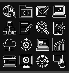 seo and internet icons set on black background vector image