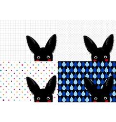 Set Black Rabbit Background-01 vector