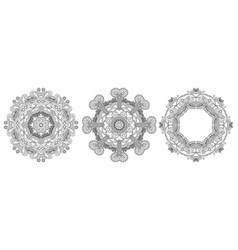 set circle lace decorative ornament vector image