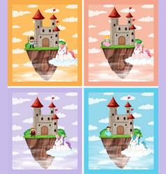 set medieval castle vector image
