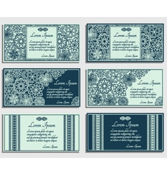 Set of blue invitation cards vector image