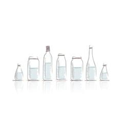 Set of bottles sketch for your design vector image vector image