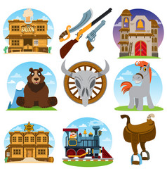 set of color on the theme of the wild west saloon vector image