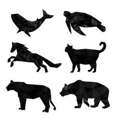 set polygon geometric animal vector image