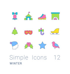 Set simple line icons winter vector