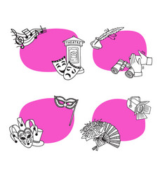 set stickers with doodle theatre vector image