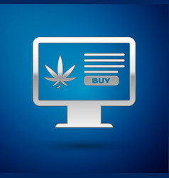 Silver computer monitor and medical marijuana or vector