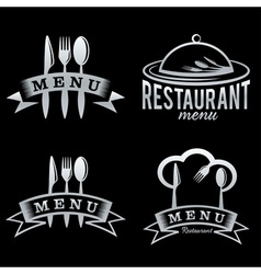Silver restaurant and menu elements set vector