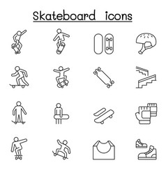 Skateboard icon set in thin line style vector