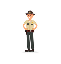 smiling town male sheriff police officer character vector image