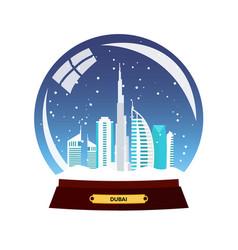 Snow globe city dubai in snow globe winter vector
