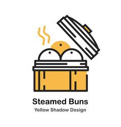 Steamed bun lineal color vector