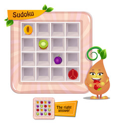 Sudoku game kids fruits vector