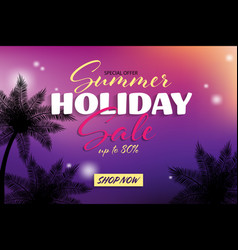 summer sale banner with tropical backgrounds vector image