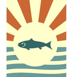Sun rays backdrop with fish icon vector
