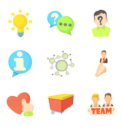 Teammate icons set cartoon style vector