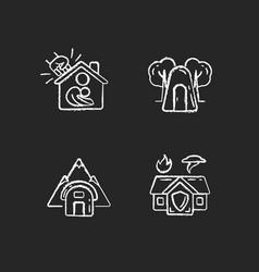 Temporary safe residence chalk white icons set vector
