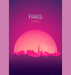 Travel poster futuristic retro skyline paris vector