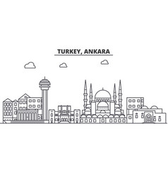 Turkey ankara architecture line skyline vector