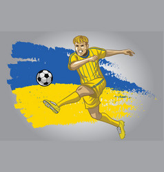 Ukraine soccer player with flag as a background vector