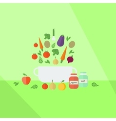 Vegetables pan on a table vector image