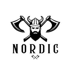 viking head logo elements logo design vector image