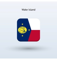Wake island flag icon vector