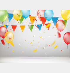 White room with color ballons and flags greeting vector