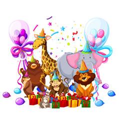 wild animal celebrate birthday vector image