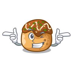 Wink takoyaki character in octopus balls food vector