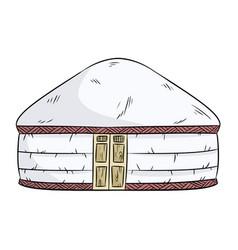 Yurta nomads turk nomad tent yurt house vector