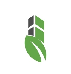 building with leaf logo vector image