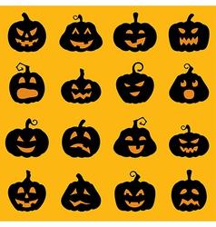 Halloween decoration Jack o Lantern silhouette set vector image vector image