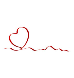 heart shape of red ribbon vector image vector image