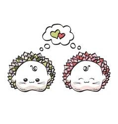 love hedgehogs kawaii style on a white background vector image