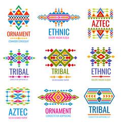 vintage american indian logo set business vector image vector image