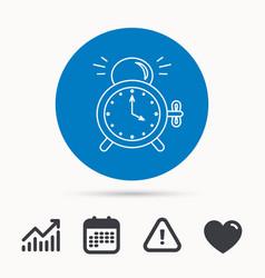 alarm clock icon mechanical retro time sign vector image