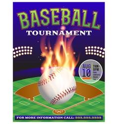 Baseball Tournament Flyer 3 vector image vector image