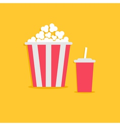 Popcorn and soda with straw Cinema icon flat vector image vector image