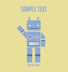 cartoon character vintage cute blue robot vector image vector image
