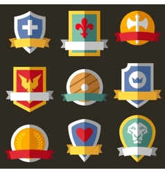 coats of arms shields ribbons vector image vector image