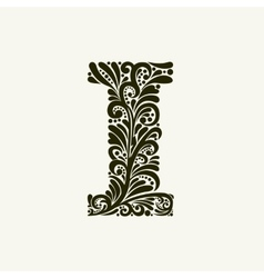 Elegant capital letter I in the style Baroque vector image vector image