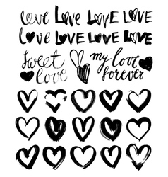 Hand drawn grunge hearts vector image