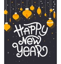Happy New Year lettering with ornaments Typographi vector image vector image