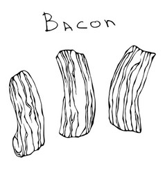 Set of raw sliced bacon realistic vector