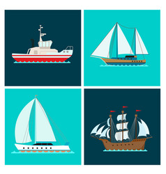 ship cruiser boat sea brochure vessel travel vector image