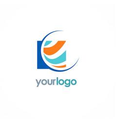 Square globe color business logo vector