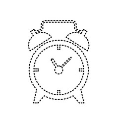 alarm clock sign black dashed icon on vector image